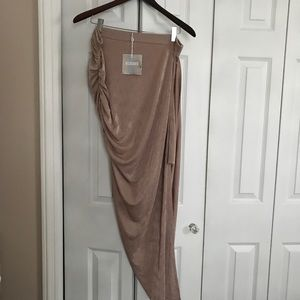 NWT Missguided Rose Asym Ruched Midi Skirt